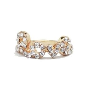 18k Gold and Pave Rhinestone Love Rings